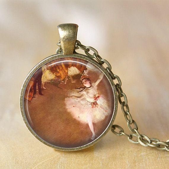 Edgard Degas Ballerina Pendant Necklace by LiteraryArtPrints #jewerly #necklace