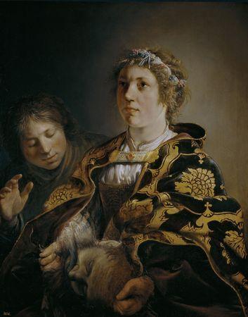 "Salomon de Bray. ""Judith delivering the Head of Holofernes""  Oil on panel, 89 x 71 cm. 1636: Judith Delivering, Museum, Art, Meadow, Head"