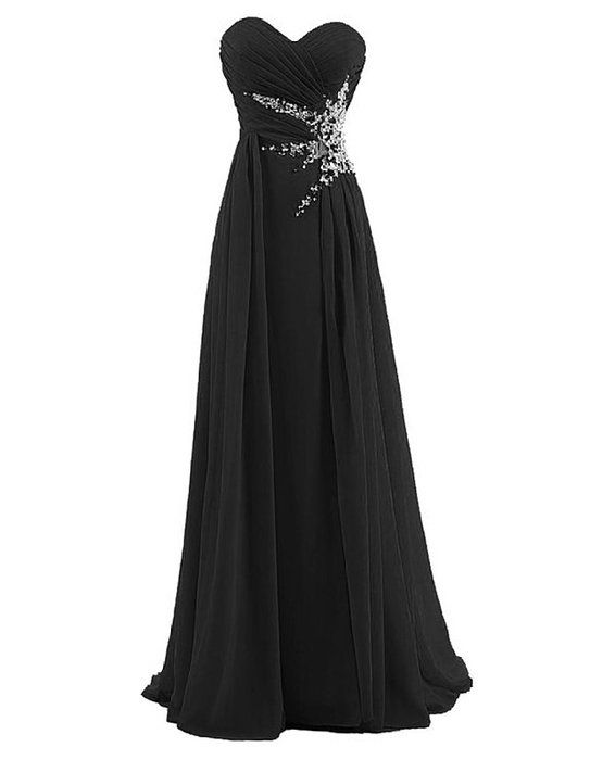 Dresstells® Sweetheart Beading Floor-length Chiffon Prom Dress Evening Gown Black Size 12