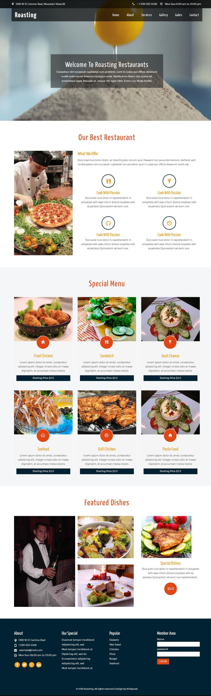 ROASTING A Hotel and Restaurant Bootstrap Responsive