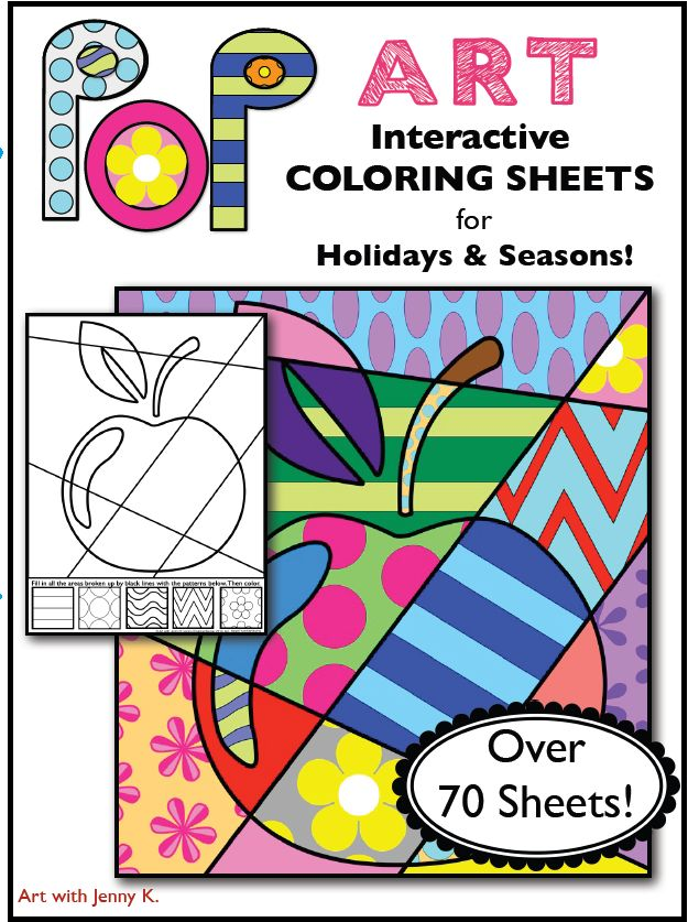 """This product is a big collection of my popular """"Pop Art"""" interactive coloring sheets. It contains over 70 coloring sheets designed for every season and every major holiday! From Back to School through July 4th, winter, spring, summer, and fall and everything in between!"""