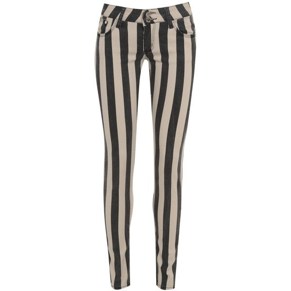 AX Paris Striped Fitted Black & Nude Jeans ($18) ❤ liked on Polyvore featuring jeans, pants, bottoms, pantalones, striped jeans, fitted jeans, ax paris, stripe jeans and striped skinny jeans