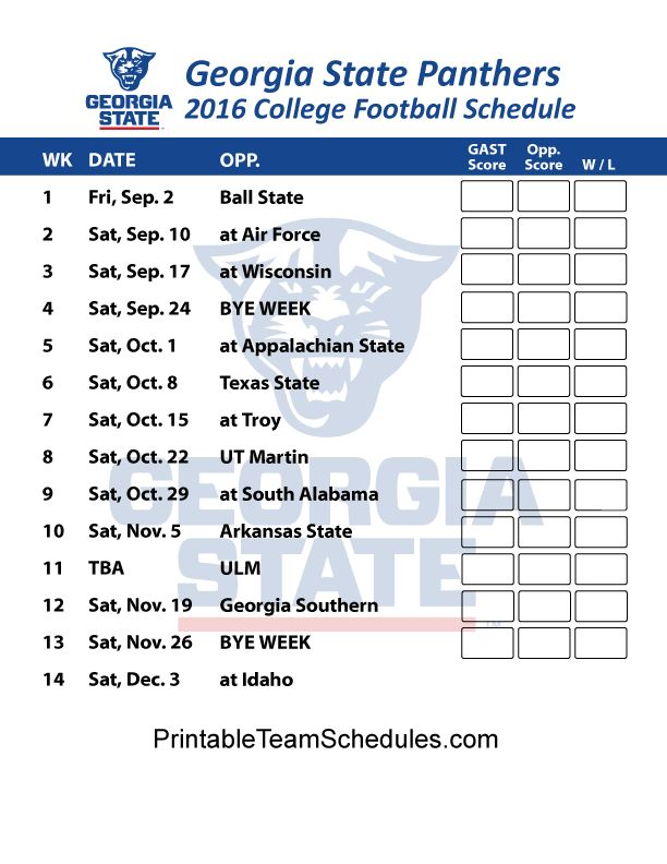 Georgia State Panthers  2016 College Football Schedule Print Here - http://printableteamschedules.com/collegefootball/georgiastatepanthers.php