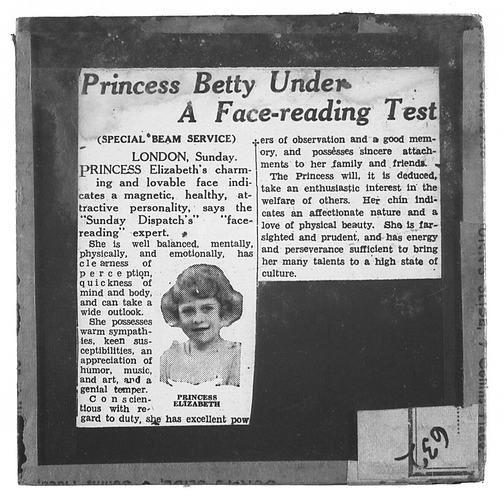 Lantern Slide - Universal Opportunity League, 'Princess Betty Under a Face-Reading Test'