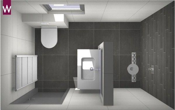 Kleine badkamer met vloertegels van 60 x 60 cm