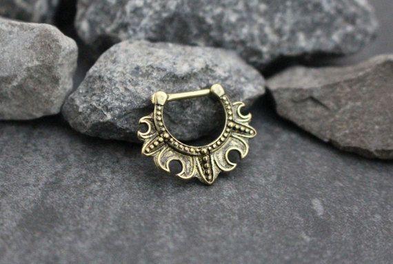 Brass Septum Clicker Tribal Septum Piercing Daith by MyBodiArt