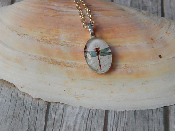 Glass Pendant Necklace  Cute Dragonfly Chain  Perfect Gift