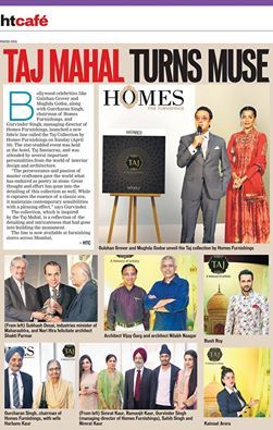 Homes Furnishings unveils 'Taj collection'. The star studded event was held at the Taj, Santacruz, and was attended by several important personalities from the world of interior design & architecture.(Hindustan Times - cafe coverage). #TajCollection #HomesFurnishings #HomeDecor #Upholstery #HomeInteriors #Interiors