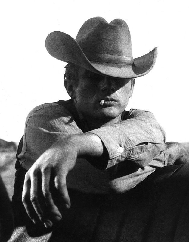 James Dean in Giant (1956). Id never have dated a smoker, but James Dean would have sure made me think about it! :D #sexycowboy #cowboy