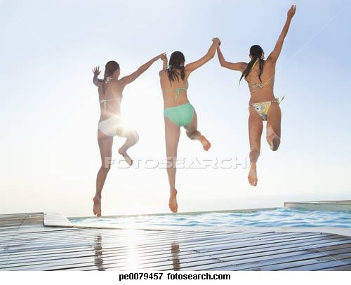 Picture of Friends holding hands jumping into swimming pool pe0079457 - Search Stock Photography, Photos, Prints, Images, and Photo Clipart - pe0079457.jpg