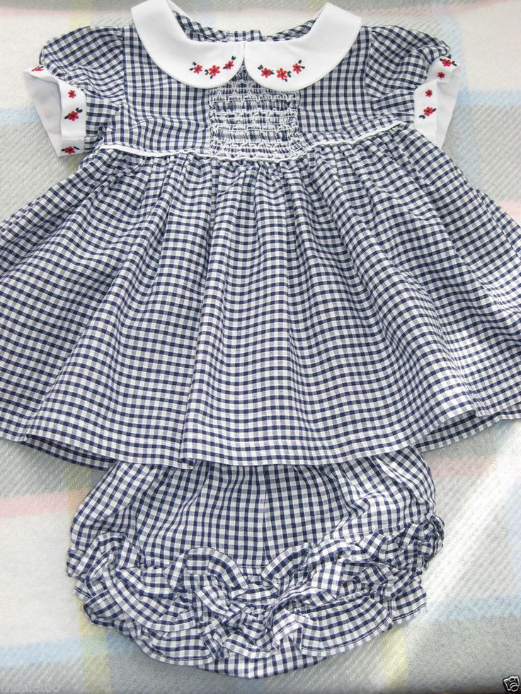 Baby Girl Newborn 0-3 m Blue Check Smocked Romany Summer Dress + Frilly Knickers