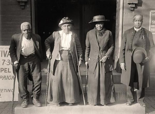 This is an important picture of Slaves Reunion.  It was taken in 1917 by Harris & Ewing.  Lewis Martin, Age 100;  Martha Elizabeth Banks, Age 104;  Amy Ware, Age 103;  Reverend S.P. Drew, Born Free.