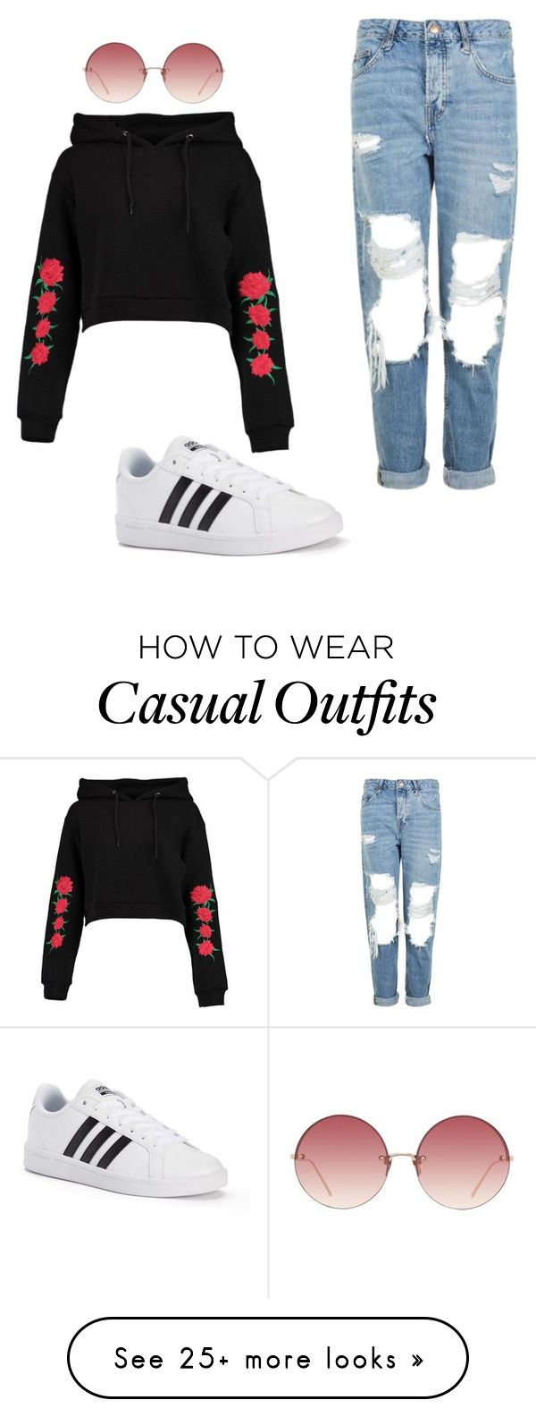 """casual"" by karolina-tupits on Polyvore featuring Boohoo, Topshop, Linda Farrow and adidas"