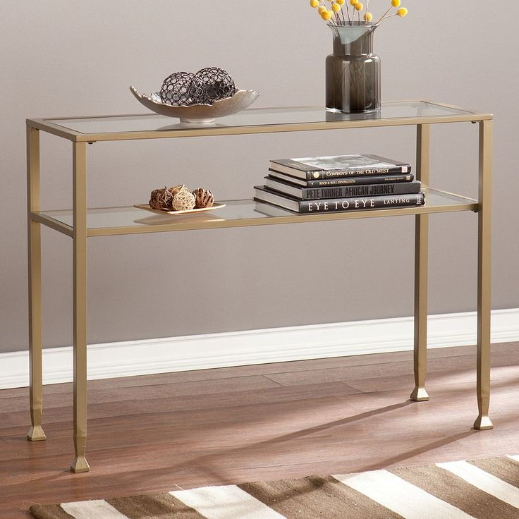 Glass Transitional Sofa Table, Gold