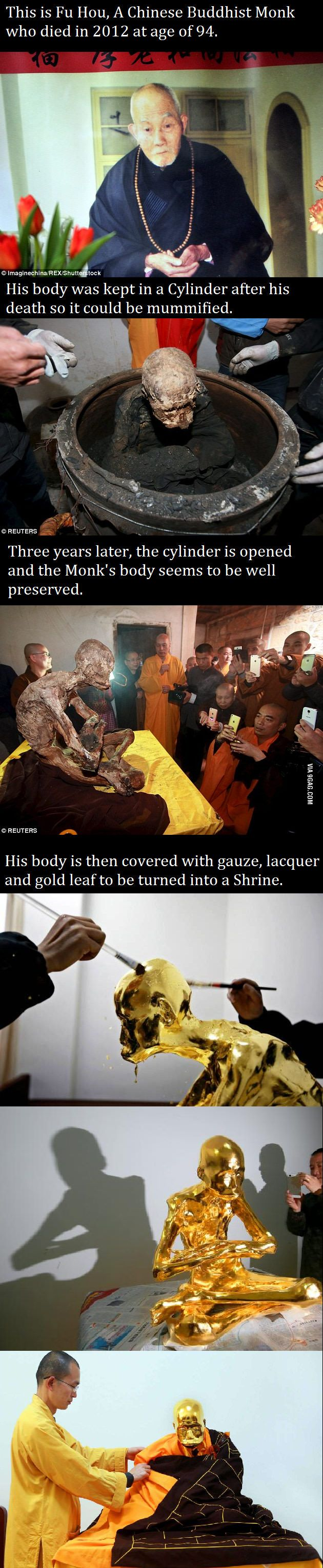 The death of a monk and his subsequent transformation into a human shrine to help others of his religion.