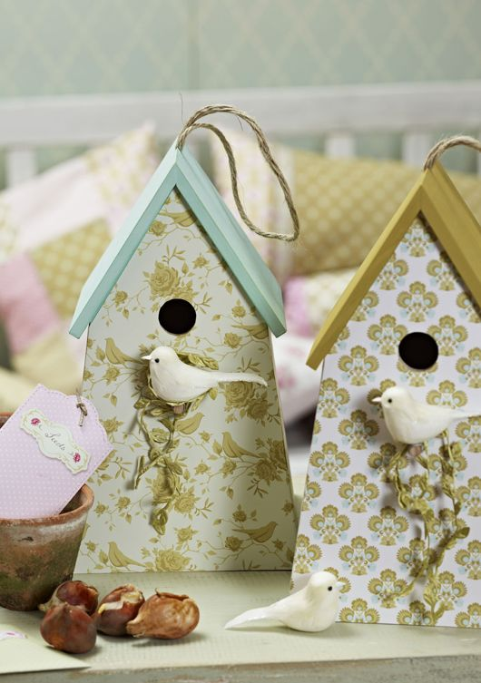Love these dollar store bird houses with painted roof and scrapbook paper fronts. So pretty for welcoming SPRING!