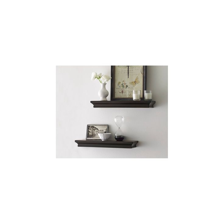 Set of 2 Traditional Shelves - Brown (15.75