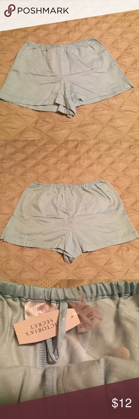 VICTORIA'S SECRET Female Boxer Shorts (MED)  ~ NWT VICTORIA'S SECRET  Female Boxer Shorts  light blue with white polka dots Size: Medium 54% Rayon 46% Cotton  Elastic Waistband One small button for show in front Victoria's Secret Intimates & Sleepwear Panties