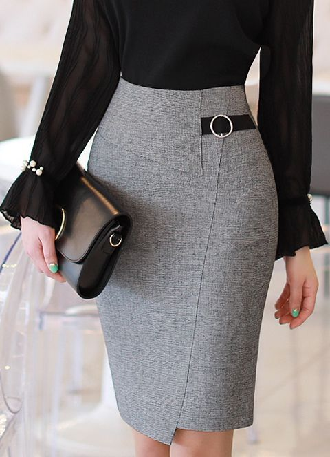 Circle Buckle Side Detail Wrap Style Pencil Skirt-Romantic