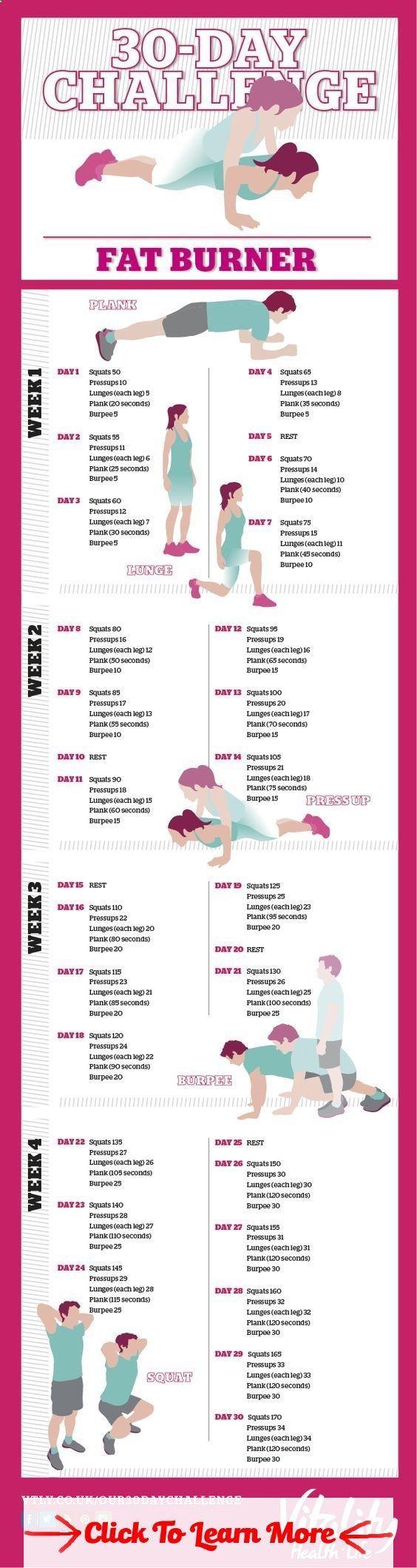 30 Day Fat Burning Challenge #health #fitness #weightloss #healthyrecipes #weightlossrecipes