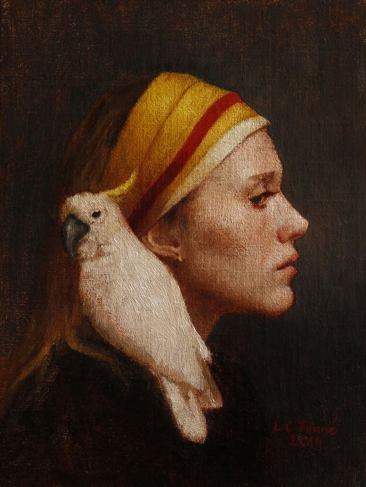 """Louise Fenne, """"Girl with Cockatoo"""" - 8x6.25, oil on panel--at Principle Gallery"""