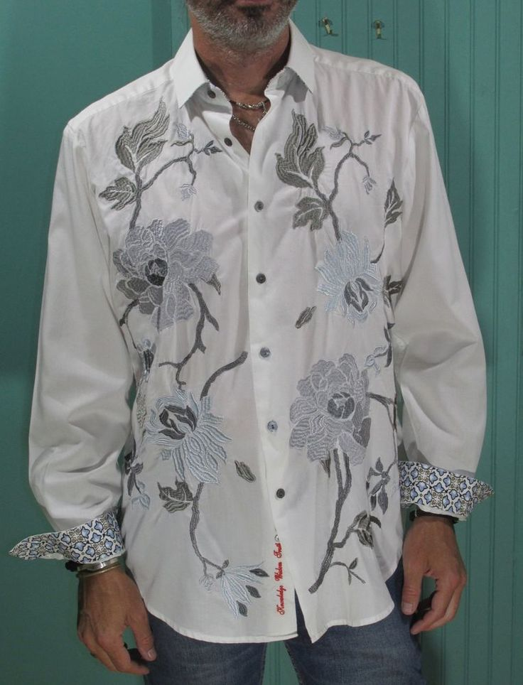 Robert Graham Sport Shirt White Gray Embroidered Contrast Cuffs #RobertGraham #ButtonFront