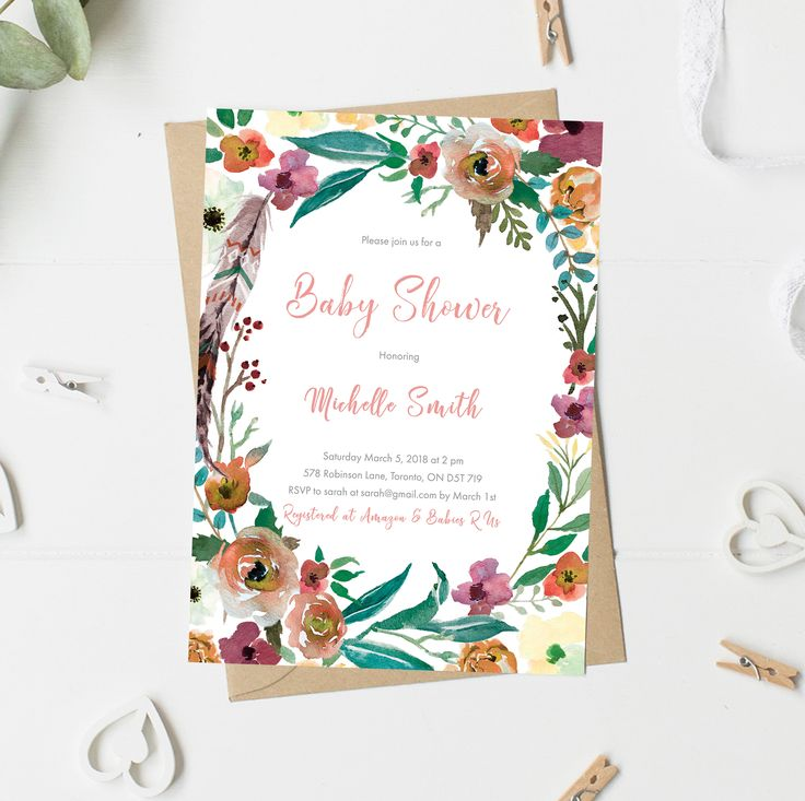 Boho Baby Shower Invitation, Baby Shower Invitation Girl, Floral, Feathers, Watercolor, Wreath, Printable, Printed by vocatio on Etsy https://www.etsy.com/ca/listing/572329910/boho-baby-shower-invitation-baby-shower