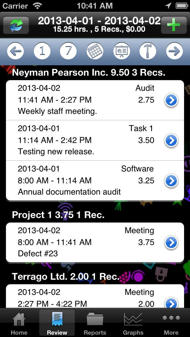 simple time tracking app iphone
