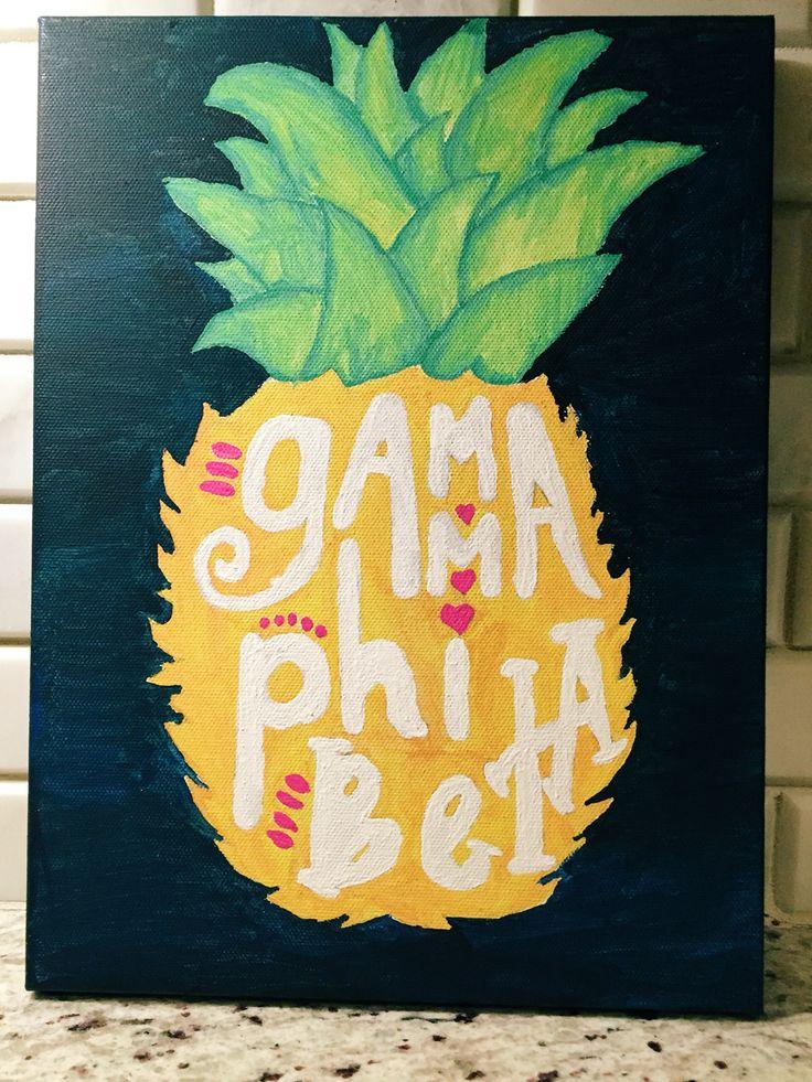 Gamma Phi Beta pineapple canvas