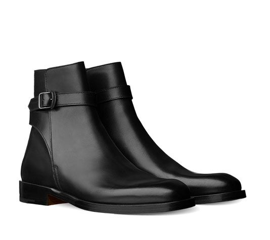 Hermes men's ankle boot in calfskin with leather buckle and leather sole