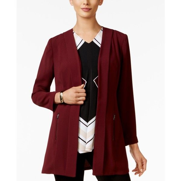 Alfani Open-Front Soft-Knit Blazer, ($90) ❤ liked on Polyvore featuring outerwear, jackets, blazers, marooned, knit jacket, red blazer, alfani, maroon blazer and red knit jacket