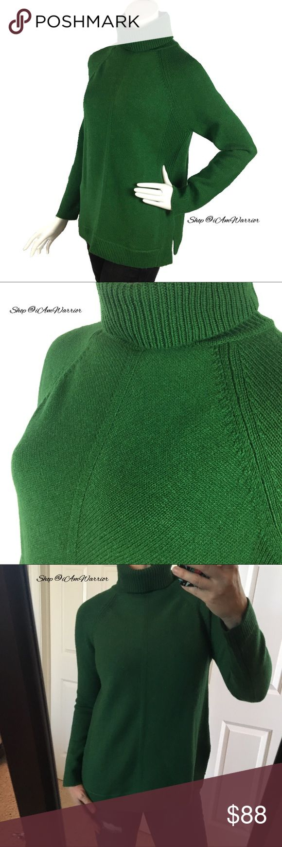 Boden NWT green turtleneck sweater Beautiful relaxed fit Boden turtleneck sweater in the prettiest shade of evergreen. Pretty center seam & side slide detail. Perfect with demin or leggings. A perfect holiday color/gift! See photos for measurements. Please read my bio regarding closet policies prior to any inquiries. Boden Sweaters Cowl & Turtlenecks