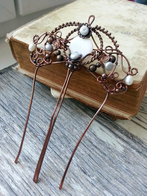 Antique Copper Hair Comb - Wire Wrapped Hair Accessories - Copper Hair Fork with…