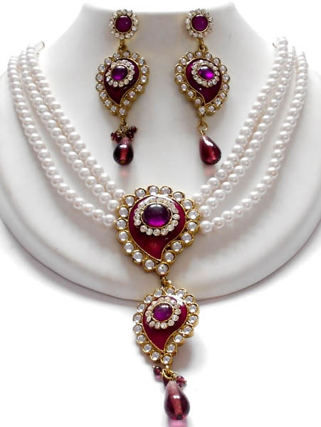 exclusive pearl jewellery set available at www.impexfashions.com