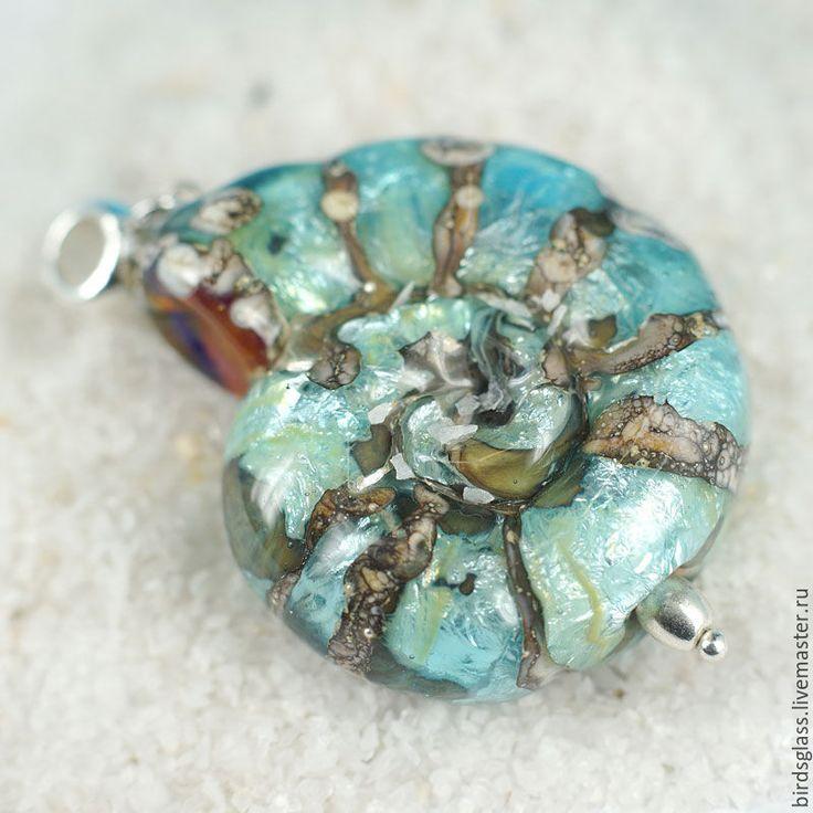 Купить Кулон Наутилус Лагуна - синий, аммонит, наутилус, древний мир, пляж, солнце, море