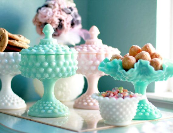 Turquoise Milk Glass Compote with Lid / Blue Hobnail Candy Dish Pedestal / Vintage Pastel Pedestal / Wedding Dessert Buffet Bar Candy Bar