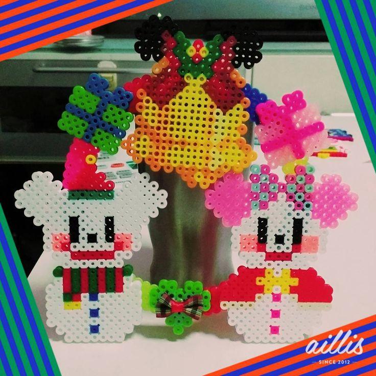 """""""#アイロンビーズ#クリスマスリース#ミッキーミニー  #perlerbeads#xmas #よっつめ #全部プレゼント"""""""