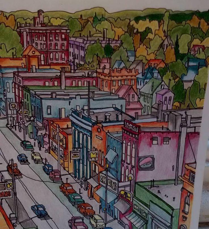 Sault Ste. Marie from Fantastic Cities - postcard size. #fantasticcities #stevedmcdonald @stevemcdonald #adultcolouringbook #adultcoloringforum #colouring #coloriage #irojiten ##prismacolor #polychromos