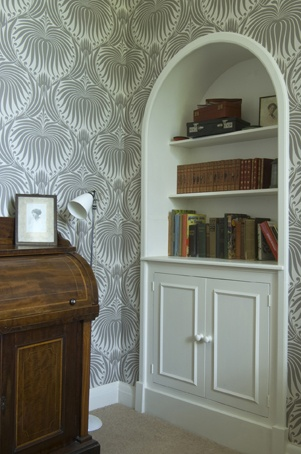 Farrow  Ball Lotus BP2011 wallpaper with White Tie Estate Eggshell