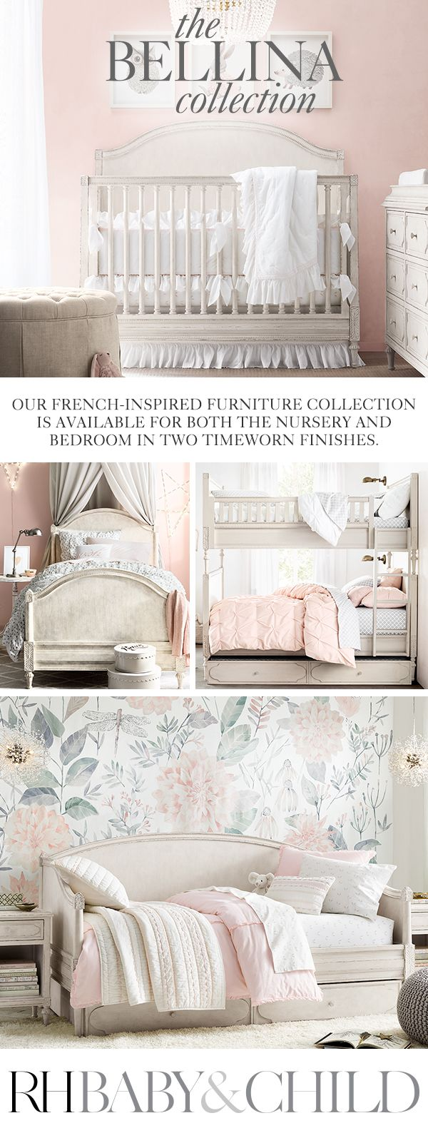 Create a feminine feel with our exquisitely detailed, French-inspired design. Sweetly sophisticated, the collection features raised moldings, rosette carvings and exquisite turned feet. Shop the Bellina furniture collection at RH Baby & Child.