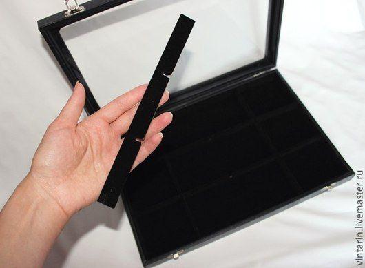 Интересная особенность планшета - разделители можно вынимать частично или полностью, увеличивая размер ячеек на свое усмотрение. Это позволяет сформировать ячейки под ожерелья, крупные подвески и любы