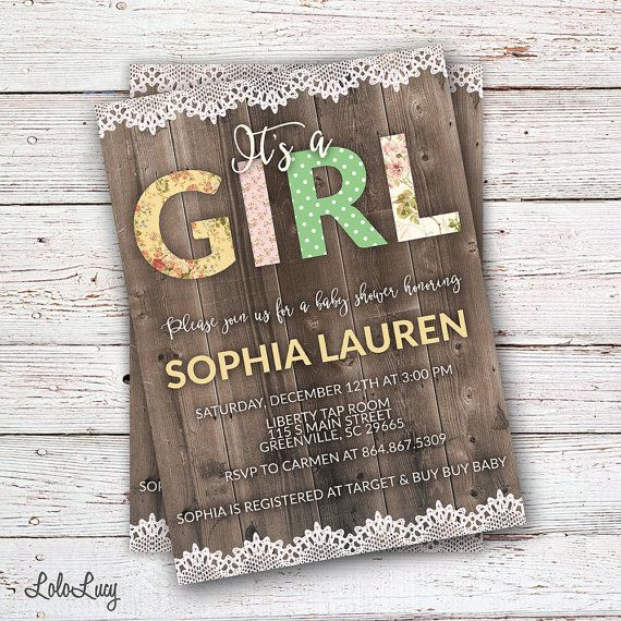 Its a girl! Trimmed with a little lace... this invitation by LoloLucy on Etsy is perfect for your shabby chic or rustic baby shower!