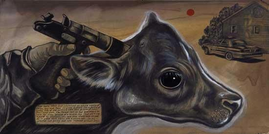 Sue Coe - Cow Slaughter Method Illustration