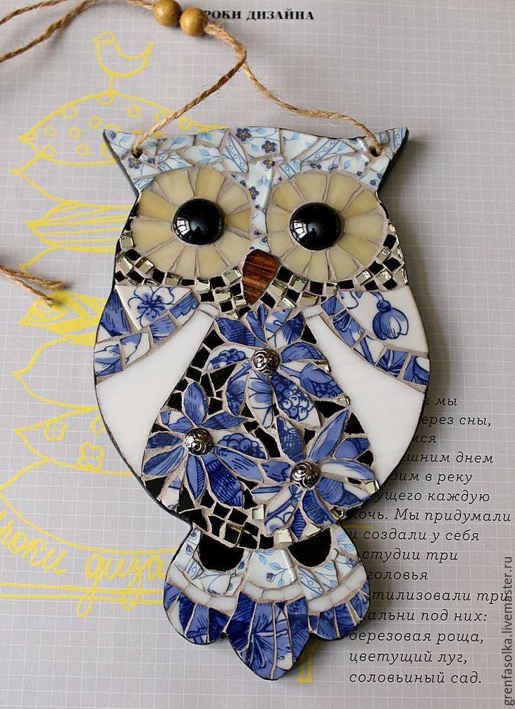 owl mosaic Купить Сова. Декоративная подвеска - тёмно-синий, синий, совушка…