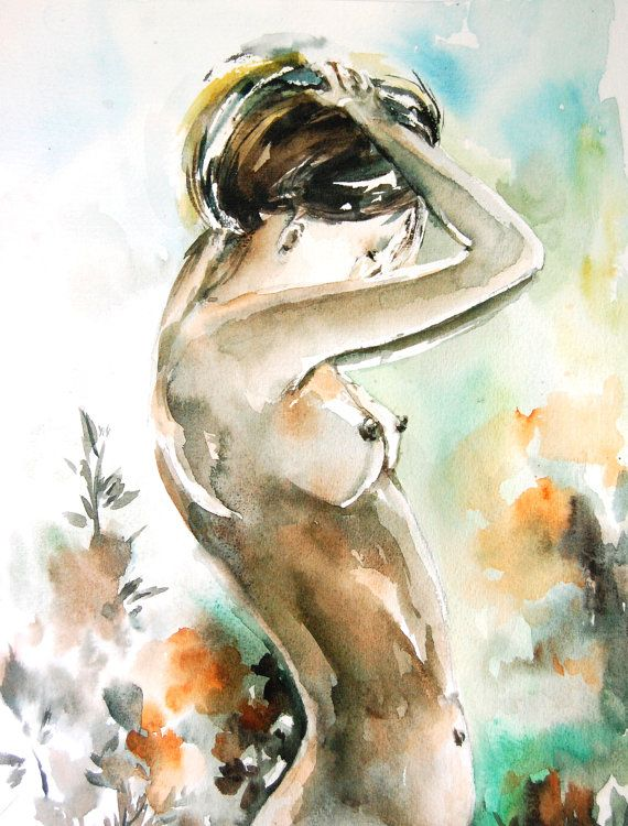 Art Print from Female Figure Nude Watercolor Painting - Figurative Nude - Watercolor Art -Modern Art