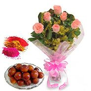 Flowers with Gulab Jamun