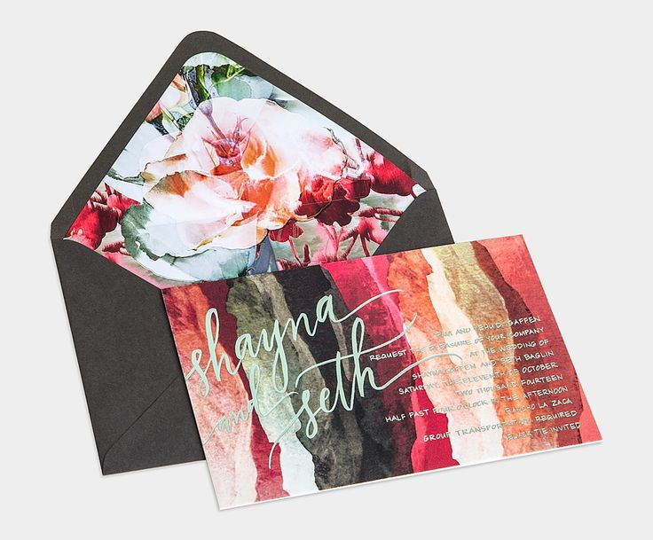 Floral envelope liner/painterly invites Linen & Leather Monogramed Folio / Artful Prints / Sage & Cranberry Metallic Foils / Charcoal Envelope with Floral Liner / Anne Robin Calligraphy / Bliss & Bone