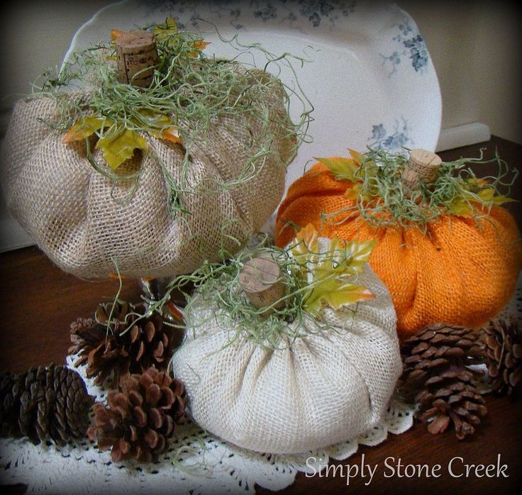 Super Easy Burlap Pumpkins