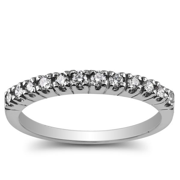 1/3 carat total weight anniversary band with round diamonds prong set in 10k white gold. $179.00