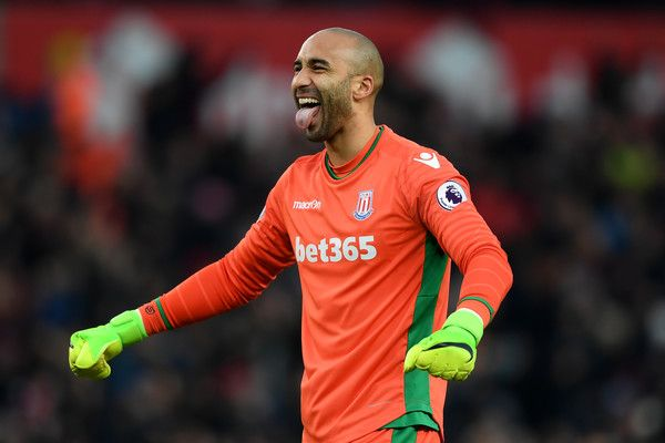 Lee Grant of Stoke City celebrates his sides goal during the Premier League match between Stoke City and Manchester United at Bet365 Stadium on January 21, 2017 in Stoke on Trent, England.